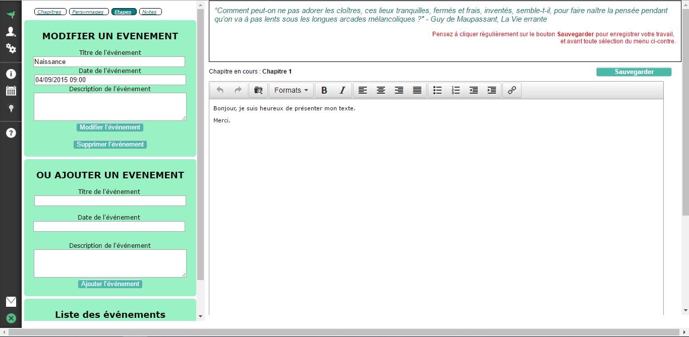 99604016301 Logiciel pour écrire un livre - Frise chronologique